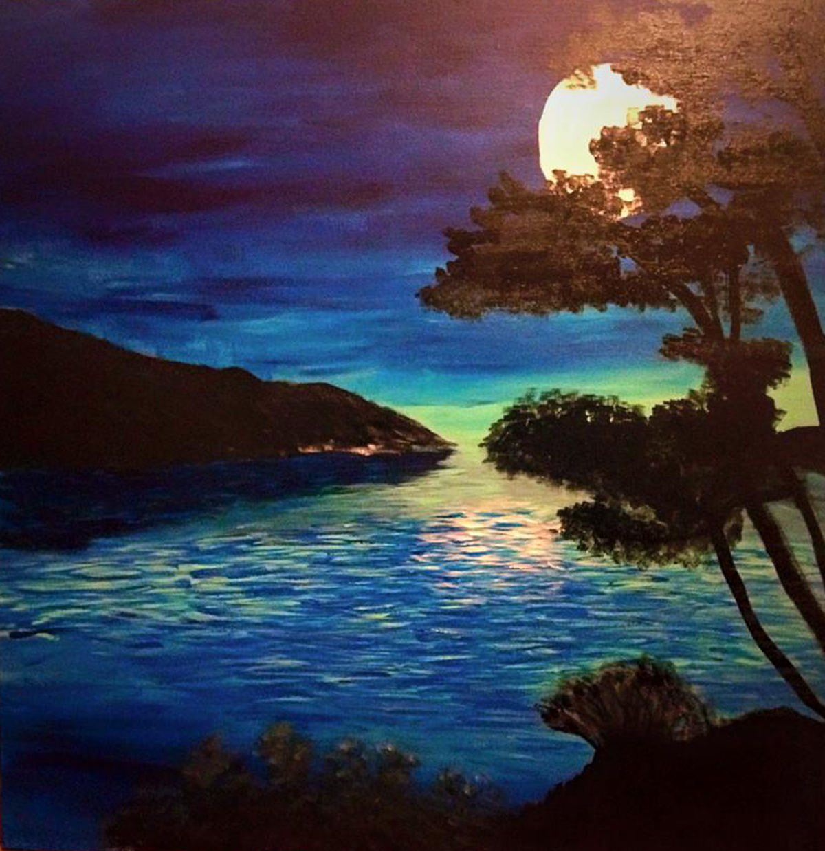 Painting Moon Bay by Pat Brown